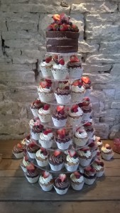 chocolate cup cake tower