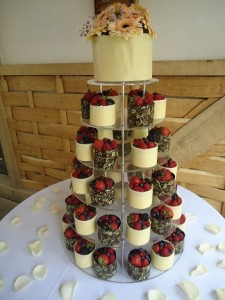 fruit cup cakes tower