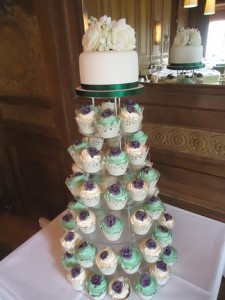 white blue cup cake tower