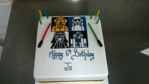 Contemporary bespoke birthday cake designers- May 4th be with you on Star Wars Day.